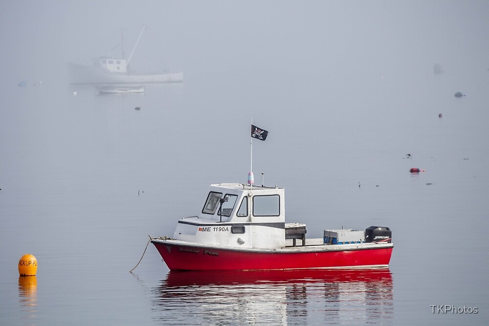 Little Red Fishing Boat Maine  by TKPhotos