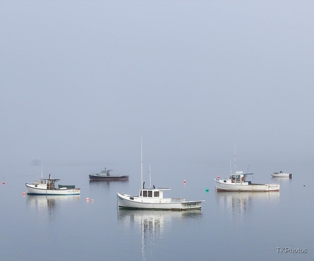 Lobster Boats Foggy Morning Maine  by TKPhotos