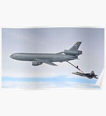 A KC-10 Extender refuels an F-22 Raptor. Poster