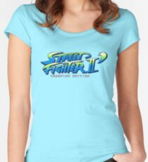 Street Fighter II Champion Edition - Title Screen Women's Fitted Scoop T-Shirt