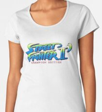 Street Fighter II Champion Edition - Title Screen Women's Premium T-Shirt