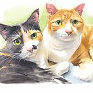 cats watercolor by Mike Theuer