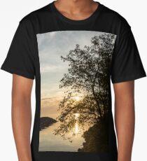 Lakeside Golds and Greens - Brilliant, Beautiful Sunrise on the Lake Long T-Shirt