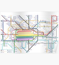 London Pride Tube Map (no text) Poster
