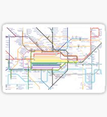 London Pride Tube Map (no text) Sticker