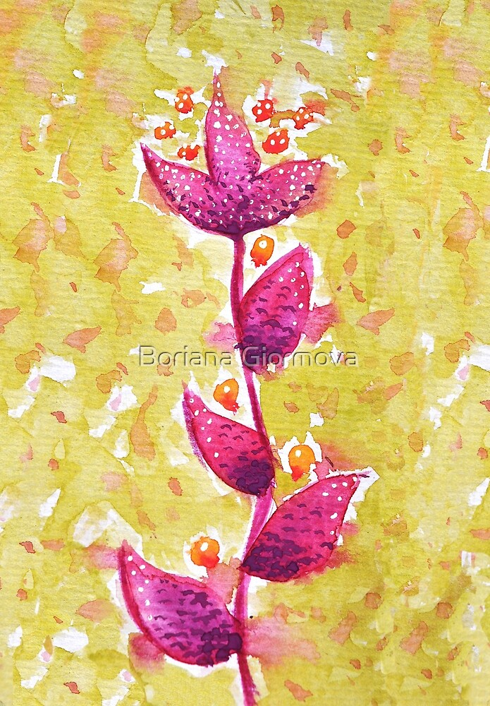 Abstract Watercolor Flower In Purple And Green by Boriana Giormova