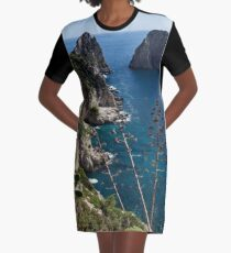 Faraglioni Sea Stacks and Agave Bloom Spikes - the Magic of Capri, Italy Graphic T-Shirt Dress