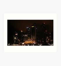 Central Business District Night Scene in Singapore Art Print
