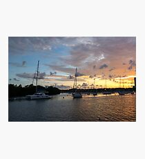 Miami Sunset Over Water Photographic Print