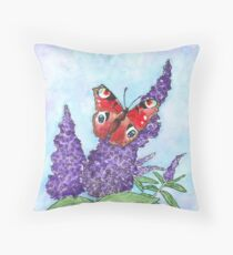Spring butterfly settled on flowers Throw Pillow