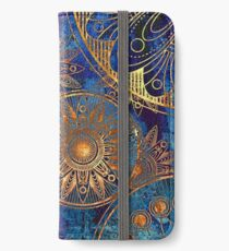 abstract gold blue cogwheels pattern iPhone Wallet