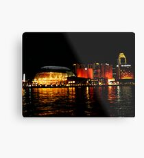 Singapore Central Business District Night Scene Metal Print