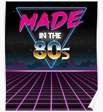 Made in The 80s - Born in Eighties retro Neon Grid Poster