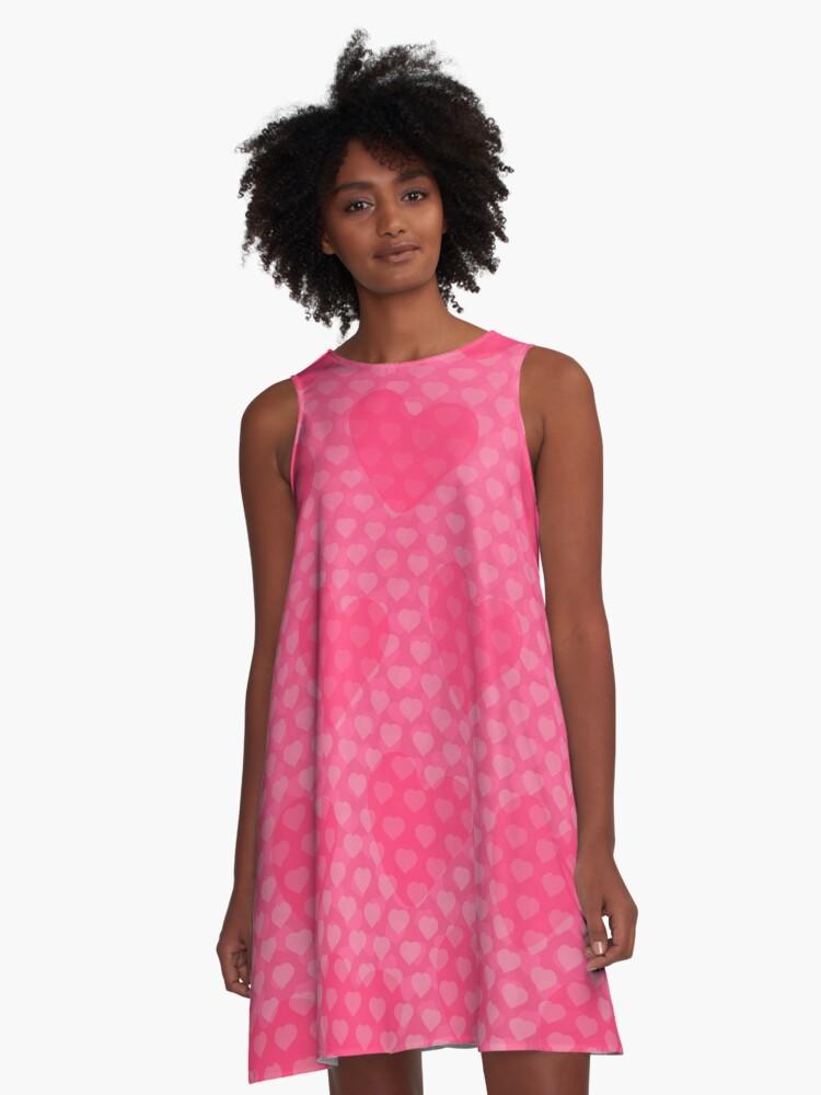 Pink Designer Princess Heart A-Line Dress Front