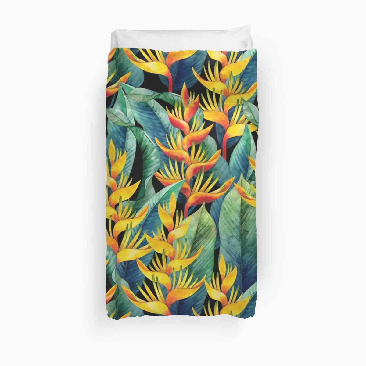 Watercolor heliconia Duvet Cover