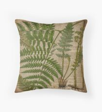 vintage hipster botanical print fern leaves Throw Pillow
