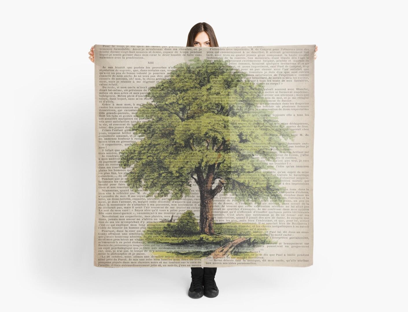 hippie hipster fashion botanical art vintage oak tree by lfang77
