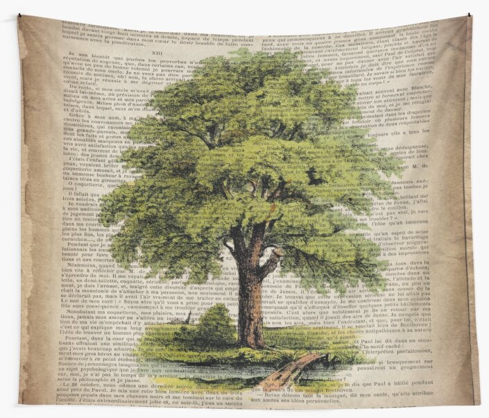 hippie hipster fashion botanical art vintage oak tree by lfang77
