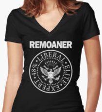 Remoaner Black Monochrome Women's Fitted V-Neck T-Shirt