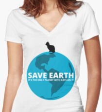 Save Earth - It's the only Planet with Cats Women's Fitted V-Neck T-Shirt