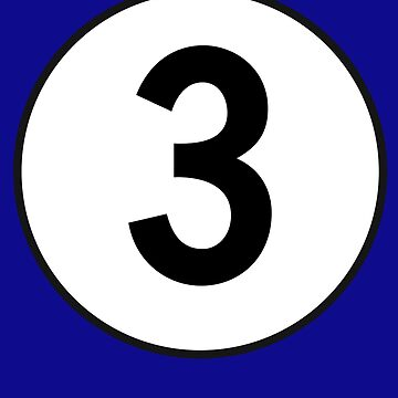 3, Three, Third, Number Three, Number 3, Racing, Competition, on Navy Blue by TOMSREDBUBBLE