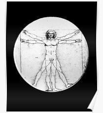 LEONARDO, Da Vinci, The Vitruvian Man, Naked, CIRCLE, c.1485, Academia, Venice, on BLACK. Poster