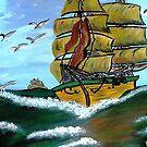 Columbus' Sailing Ships by WhiteDove Studio kj gordon