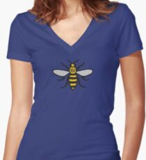 Manchester Bee, Classic Edition Women's Fitted V-Neck T-Shirt