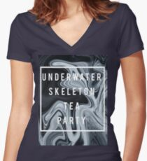Underwater Skeleton Tea Party - Abstract Women's Fitted V-Neck T-Shirt