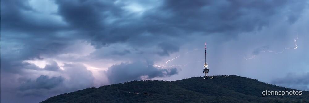 Lightning flashes over Black Mountain by glennsphotos