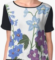 Delicate blue and purple flowers Chiffon Top
