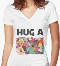Hug a dog Women's Fitted V-Neck T-Shirt