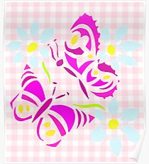 Purple butterfly and flower screen print on gingham  Poster