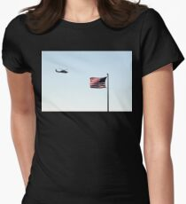 USA Flag Helicopter Women's Fitted T-Shirt