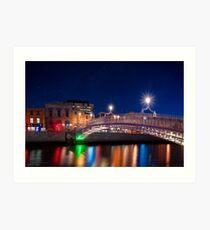 Dublin Ireland By Night - The Landmark Ha'Penny Bridge Art Print