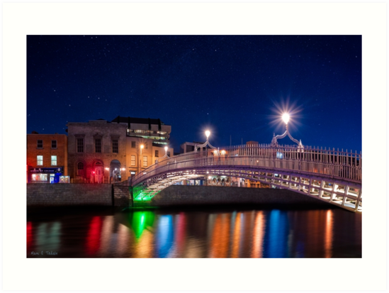 Dublin Ireland By Night - The Landmark Ha'Penny Bridge by Mark Tisdale