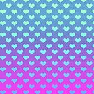 Gradient Pink Purple Blue Hearts Pattern by SaradaBoru
