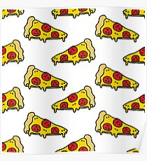 pizza seamless doodle pattern Poster
