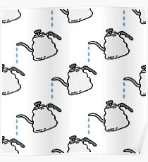kettle for coffee seamless doodle pattern Poster
