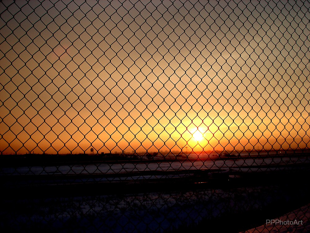 Sunset through the fence by PPPhotoArt