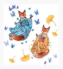 Foxy Friends - Kitsune with ginkgo and butterflies Photographic Print