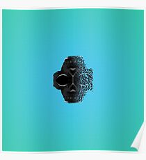 fractal black skull portrait with blue abstract background Poster