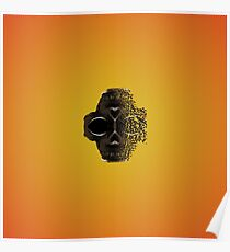 fractal black skull portrait with orange abstract background Poster