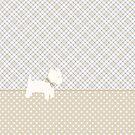 Westie Tartan and Polka Dots Throw Pillow Neutral Colors by Natalie Kinnear