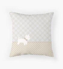 Westie Tartan and Polka Dots Throw Pillow Neutral Colors Throw Pillow