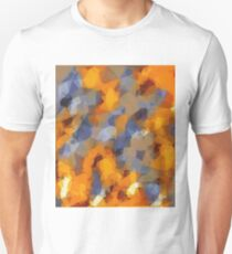 psychedelic geometric polygon abstract pattern in orange brown blue Unisex T-Shirt