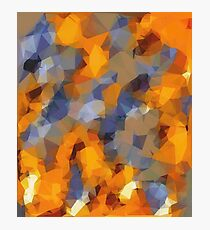 psychedelic geometric polygon abstract pattern in orange brown blue Photographic Print