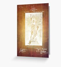 Statue If Liberty Original Patent By Bartholdi 1879 Greeting Card