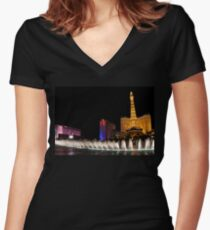 Vibrant Las Vegas - Bellagio's Fountains, Paris, Bally's and Flamingo Women's Fitted V-Neck T-Shirt
