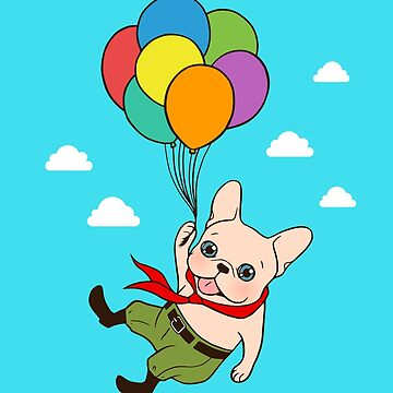 Cute Frenchie is flying away with balloons for his adventure by cheesim
